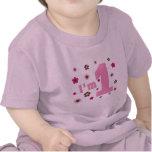 """""""Soy 1"""" rosa y cumpleaños de las flores de Brown Camisetas"""