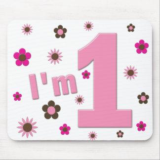 Soy 1 rosa y cumpleaños de las flores de Brown Tapetes De Ratones