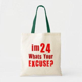 ¿Soy 24 cuál soy su excusa Cumpleaños Bolsas Lienzo