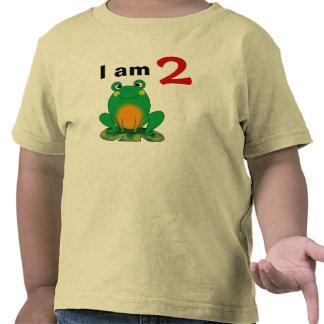 Soy 2 años hoy la rana verde del dibujo animado camiseta