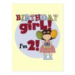 Soy 2 camisetas y regalos del chica del cumpleaños tarjeta postal