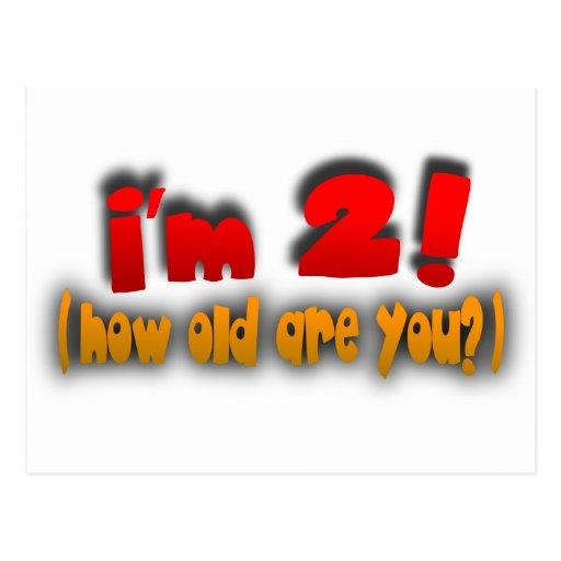¡Soy 2! ¿Cómo viejo es usted? -- Rojo, oro y gris Tarjeta Postal