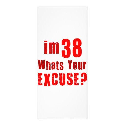 ¿Soy 38, cuáles soy su excusa? Cumpleaños Tarjetas Publicitarias
