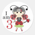 Soy 3 pegatinas del círculo del cumpleaños de la pegatinas redondas