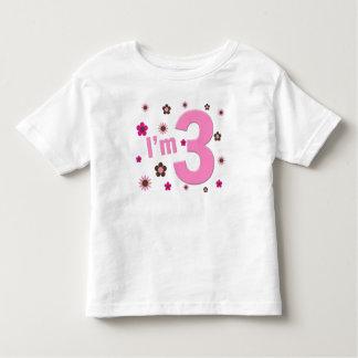 """""""Soy 3"""" rosa y las flores de Brown Playeras"""