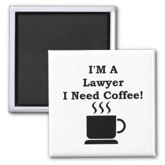 ¡Soy abogado, yo necesito el café! Imán Cuadrado