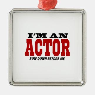 Soy actor arqueo abajo antes de mí adorno navideño cuadrado de metal