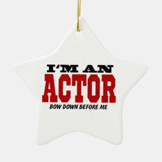 Soy actor arqueo abajo antes de mí adorno navideño de cerámica en forma de estrella