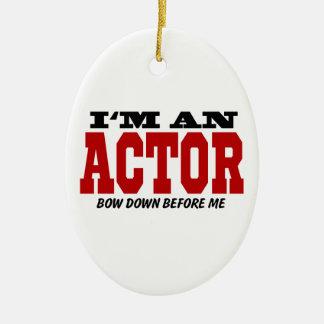 Soy actor arqueo abajo antes de mí adorno navideño ovalado de cerámica