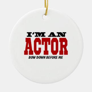 Soy actor arqueo abajo antes de mí adorno navideño redondo de cerámica