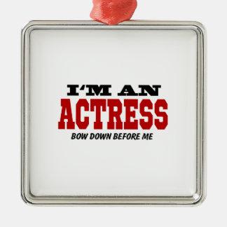 Soy actriz arqueo abajo antes de mí adorno navideño cuadrado de metal