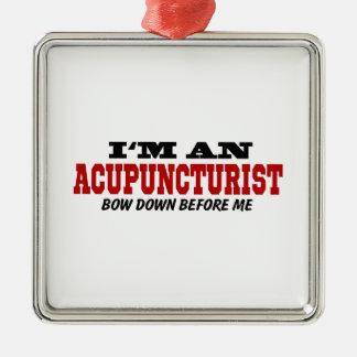 Soy Acupuncturist arqueo abajo antes de mí Adorno Navideño Cuadrado De Metal