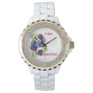 Soy afirmación hermosa de la flor reloj