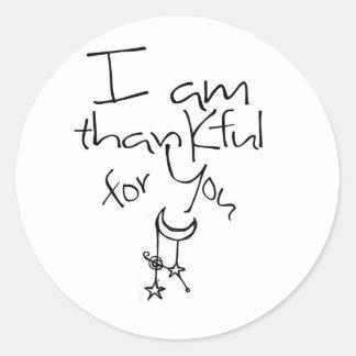 Soy agradecido para usted pegatinas redondas