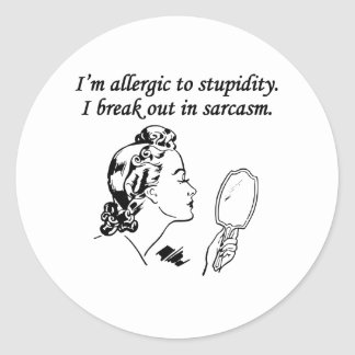 Soy alérgico a la estupidez etiquetas redondas