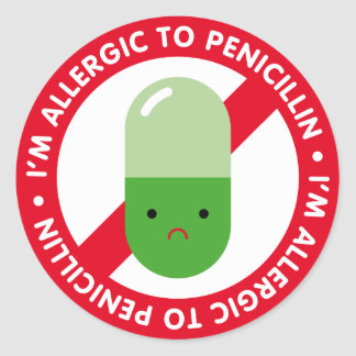 ¡Soy alérgico a la penicilina! Alergia de la Pegatina Redonda