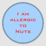 Soy alérgico a las nueces - pegatina redondo llano