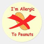Soy alérgico a los pegatinas de los cacahuetes en pegatina redonda