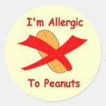 Soy alérgico al amarillo de los pegatinas de los pegatina redonda