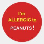 Soy alérgico - los CACAHUETES Pegatinas Redondas