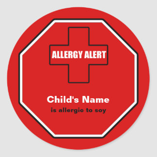 Soy Allergy Medical Alert Custom Sml Sticker