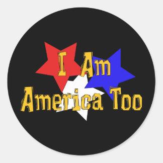 Soy América también Pegatina Redonda