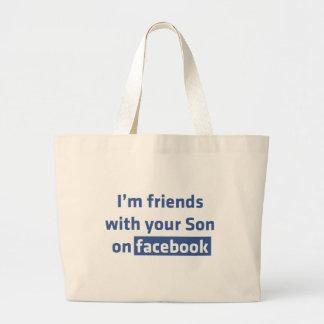 Soy amigos con su hijo en facebook. bolsa lienzo