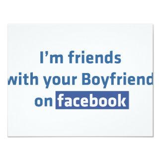 """Soy amigos con su novio en facebook invitación 4.25"""" x 5.5"""""""