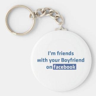Soy amigos con su novio en facebook llavero redondo tipo pin