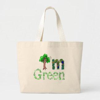 Soy árbol verde que va verde reciclo símbolos bolsa de mano