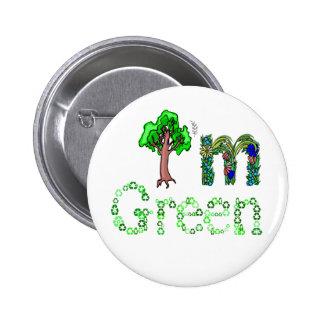 Soy árbol verde que va verde reciclo símbolos pin