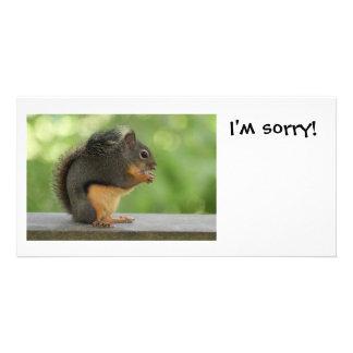 Soy ardilla triste de la disculpa tarjetas fotograficas personalizadas