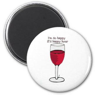 Soy ASÍ QUE FELIZ es impresión del vino de la HORA Imán Redondo 5 Cm