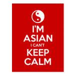 Soy asiático yo no puedo guardar calma postal
