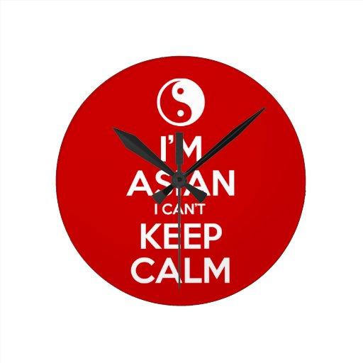 Soy asiático yo no puedo guardar calma reloj redondo mediano