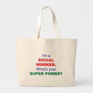 Soy asistente social. ¿Cuál es su superpoder? Bolsa Tela Grande