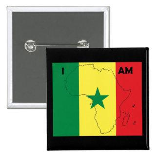 """Soy botón de África"" Senegal Pin Cuadrado"