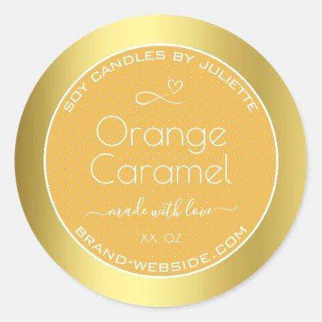Soy Candles Packaging Labels Gold Orange Caramel