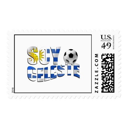 Soy Celeste Uruguay flag Futbol soccer ball logo Postage