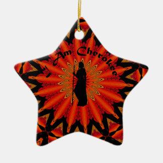 Soy cherokee adorno navideño de cerámica en forma de estrella