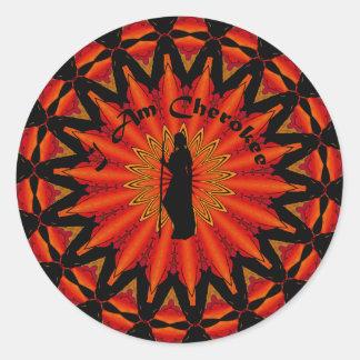 Soy cherokee pegatina redonda