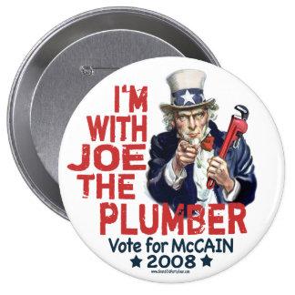 Soy con Joe el botón del fontanero Pin Redondo De 4 Pulgadas