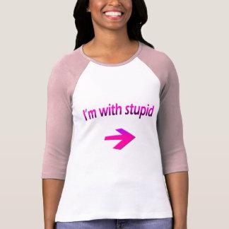 Soy con las señoras estúpidas 3/4 raglán de la poleras