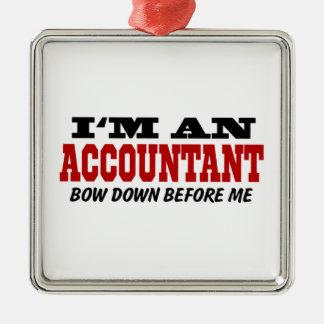 Soy contable arqueo abajo antes de mí adorno navideño cuadrado de metal