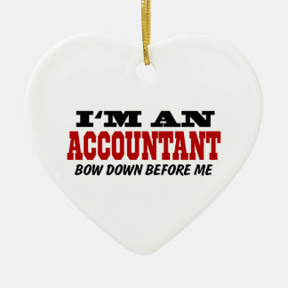 Soy contable arqueo abajo antes de mí adorno navideño de cerámica en forma de corazón
