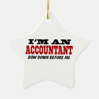 Soy contable arqueo abajo antes de mí adorno navideño de cerámica en forma de estrella