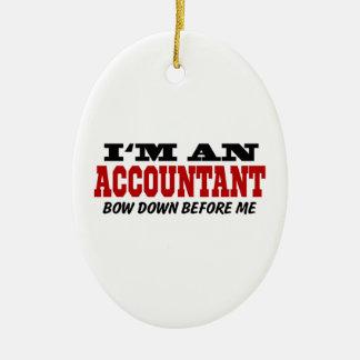 Soy contable arqueo abajo antes de mí adorno navideño ovalado de cerámica