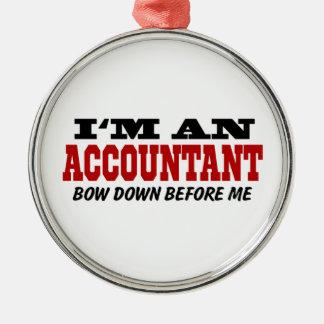 Soy contable arqueo abajo antes de mí adorno navideño redondo de metal