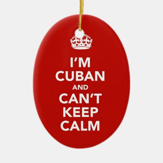 Soy cubano y no puedo guardar calma adorno navideño ovalado de cerámica