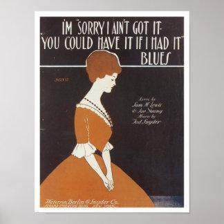 Soy cubierta triste del cancionero del vintage posters